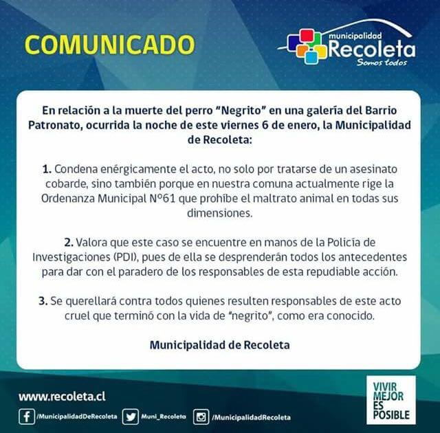 Comunicado Municipalidad de Recoleta