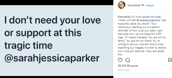 Kim Cattrall | Instagram