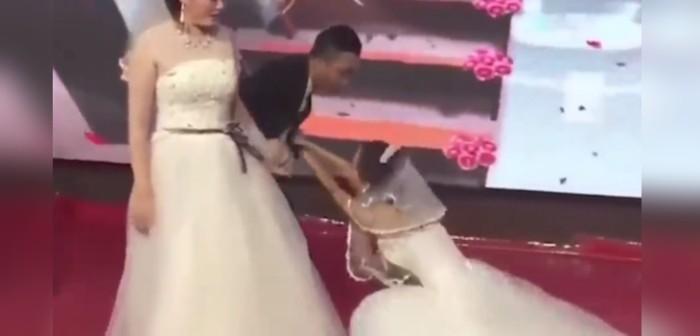 Una boda en China se hizo viral por una vergonzosa escena
