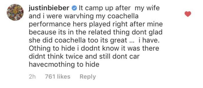 Bieber sale a defenderse