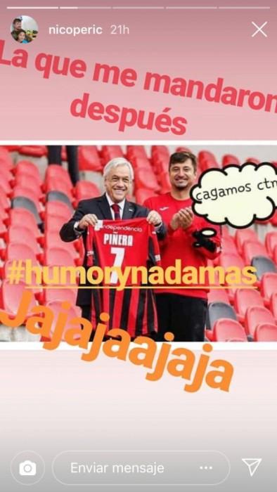 Peric trolea a Piñera en Instagram