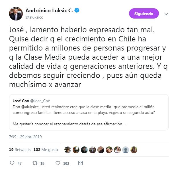 respuesta de andrónico luksic tras interpelaciones por sus dichos