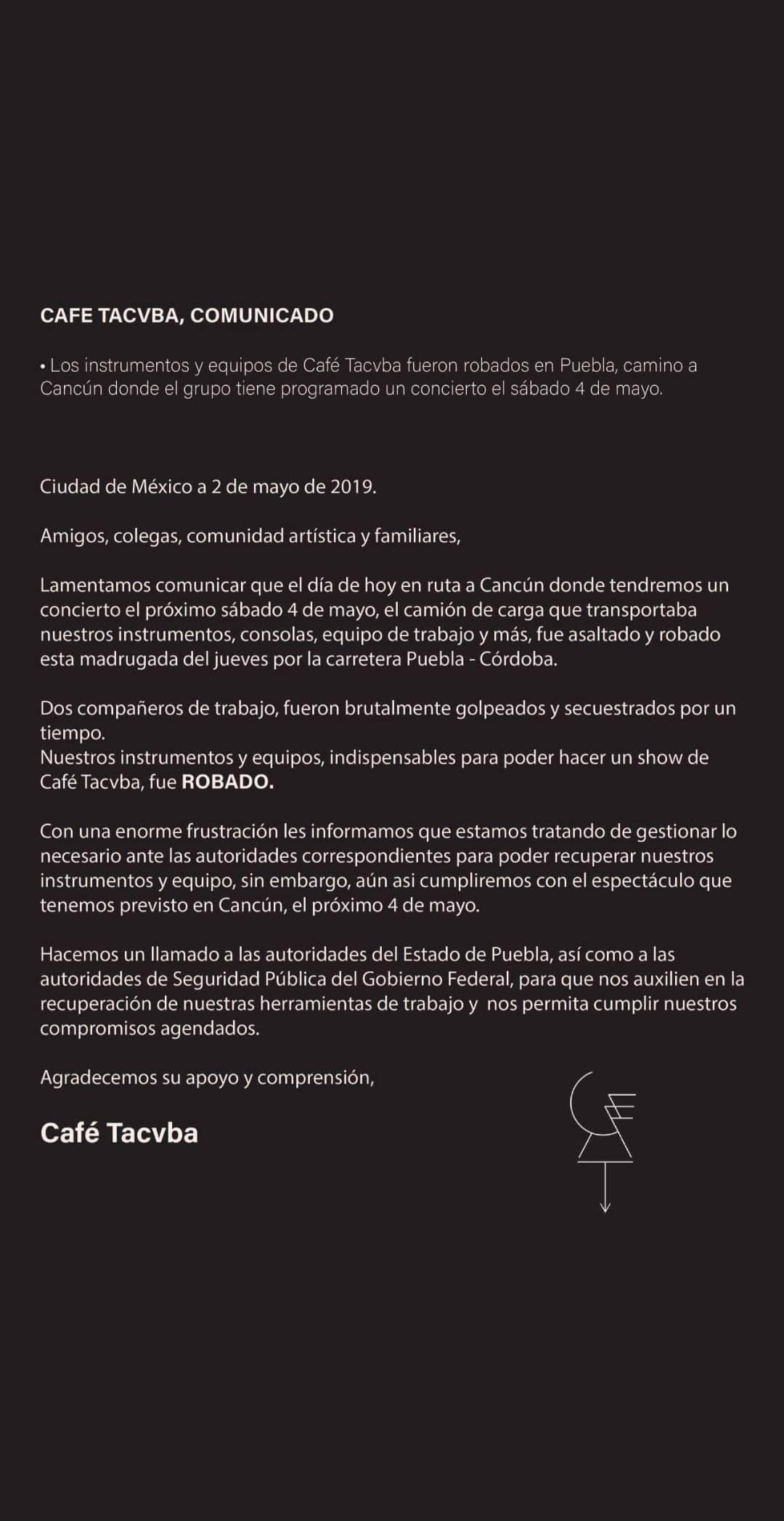 Café Tacvba asalto Cancún