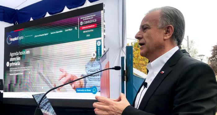 ministro de salud emilio santelices anunciando plataforma hospital digital