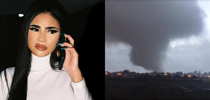 Youtuber que quería grabarse parodiando a Paloma Mami captó justo cuando pasó tornado en Los Ángeles