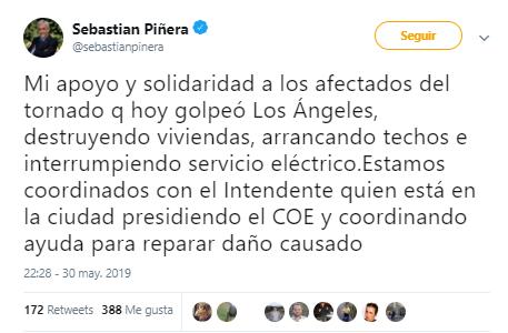 Tornado Los Ángeles Sebastián Piñera