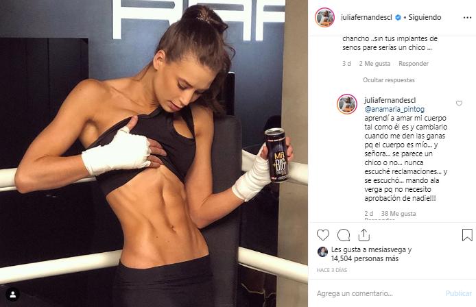 Julia Fernandes se defendió de desubicada crítica sobre su cuerpo