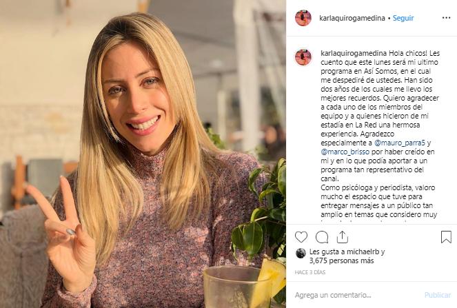 Karla Quiroga deja Así Somos