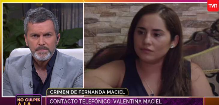 Hermana de Fernanda Maciel se descargó en No Culpes a la Noche