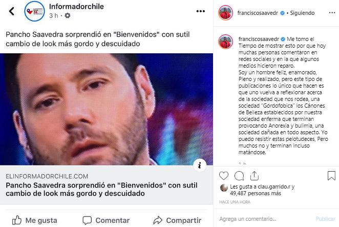 Francisco Saavedra respondió ante críticos por aspecto nuevo look Bienvenidos