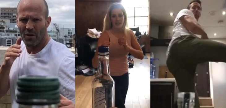 #BottleCapChallenge desafío viral famosos