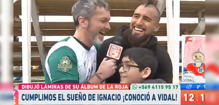 Cristian Sánchez reunió al niño que dibujó a Arturo Vidal con su ídolo deportivo