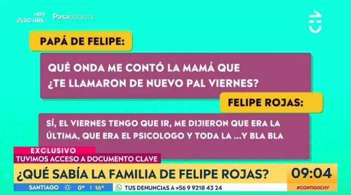 misteriosas conversaciones teléfonicas entre felipe rojas y padres