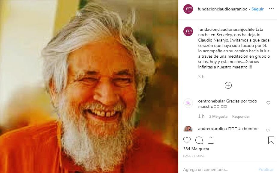 Murió el reconocido psiquiatra y escritor Claudio Naranjo