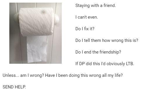 Controversia por posición de papel higiénico