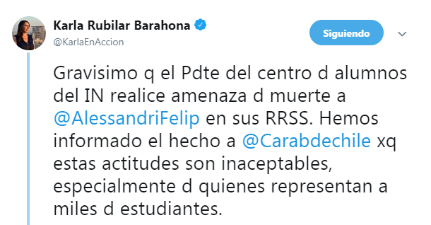 """Mensaje del presidente de estudiantes del Instituto Nacional desata polémica: """"Matar a Alessandri"""""""
