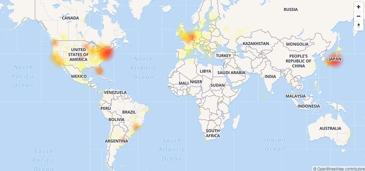 zonas con mayor caida de twitter
