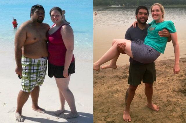 pareja bajó de peso juntos