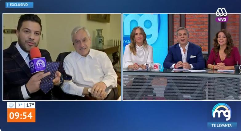Simón Oliveros de 'Mucho Gusto' recibió particular regalo del presidente Piñera