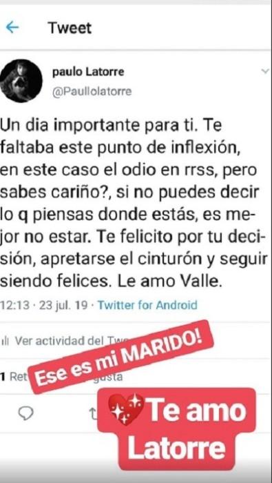 alejandra valle replico comentario de apoyo de su esposo paulo latorre