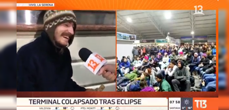 Polo Ramírez entrevistó a curioso turista que seguía en 'Modo Eclipse