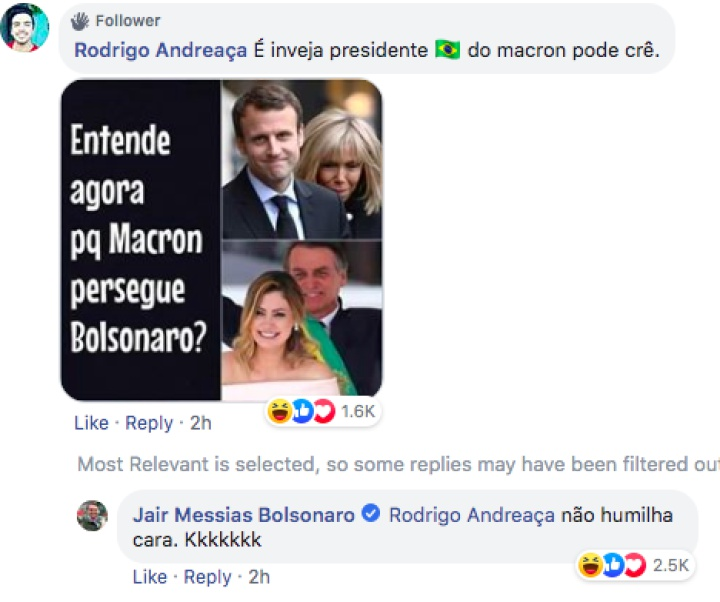 Emmanuel Macron dispara contra Jair Bolsonaro por burlarse de su esposa en Facebook