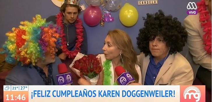 Mucho Gusto sorprendió a Karen en su cumpleaños: Luis Jara y José Miguel Viñuela interrumpieron su programa radial