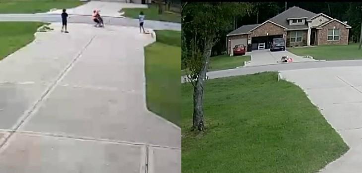 Cámaras registraron aterrador momento en que niño fue atacado por pitbull: vecino corrió a salvarlo