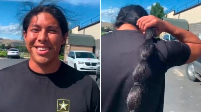 Joven se cortó su pelo para sumarse al ejército