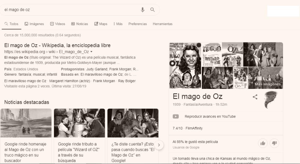 Google celebra los 80 años de 'El mago de Oz' con divertido truco en el buscador: así funciona