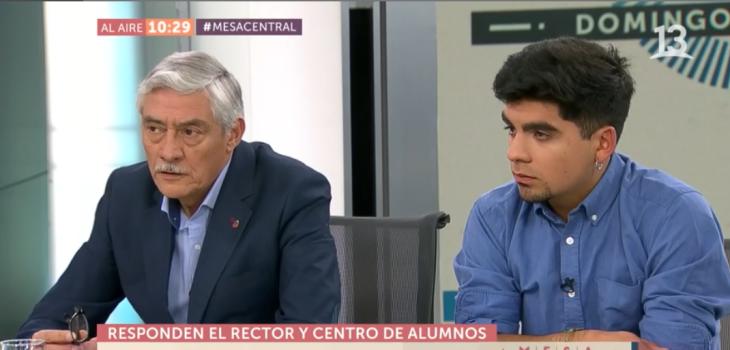 Áspero debate entre presidente del Centro de Alumnos y rector del Instituto Nacional en Mesa Central