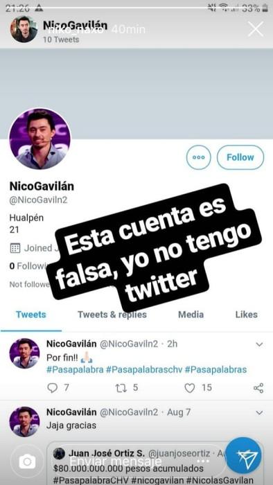 nicolas gavilan denuncio cuenta falsa en twitter