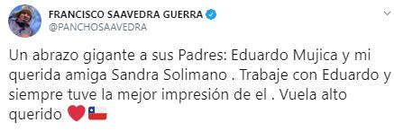 Francisco Saavedra y su emotivo mensaje de condolencia tras la muerte del actor Eduardo Mujica