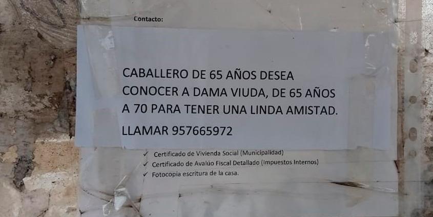 Abuelo de 65 años busca pareja mediante carteles en Hualpén
