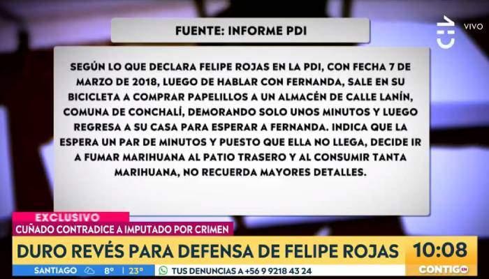 Filtran declaración del cuñado de Felipe Rojas que dejaría en evidencia contradicción