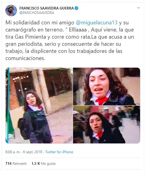 pancho saavedra solidariza  con miguel acuña