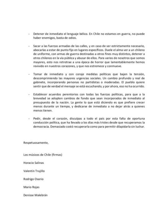 Cantantes entregan carta en Palacio de La Moneda
