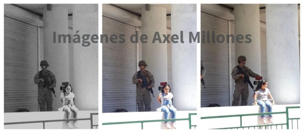 Cedid BBCL | Imágenes que tomó Axel Millones el 21 de octubre en Coquimbo. A la izquierda, en blanco y negro, la fotografía que circuló en redes sociales y editada por el autor. Al medio la original a color, y a la derecha otra toma de la niña con los brazos a los lados