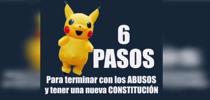 Viral explica los 6 pasos para tener una nueva Constitución con personajes íconos de las protestas