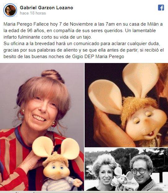 Fallece María Peregó creadora de Topo Gigio