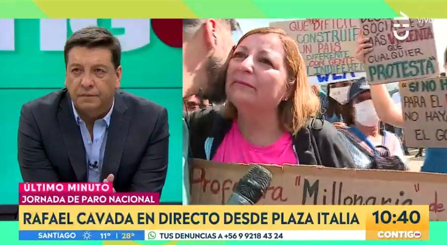 Rafa Cavada se conmovió con crítica de profesora que se manifestaba en Plaza Italia