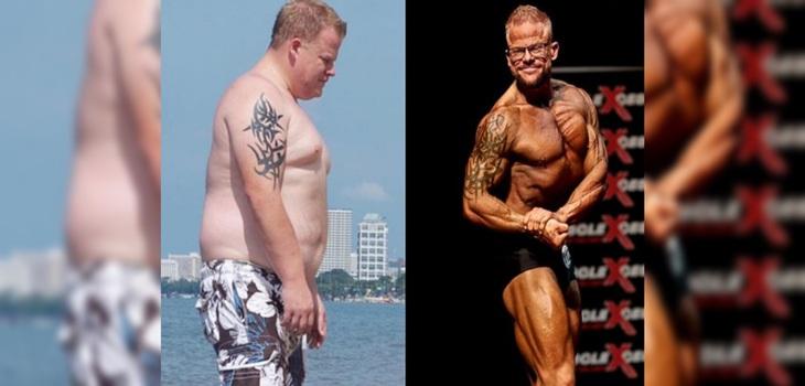 Olly Hewitt perdió 50 kilos y ahora luce orgulloso sus abdominales
