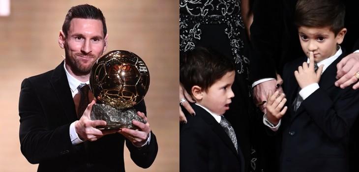 Messi ganó su sexto Balón de Oro: hijos se robaron la atención por eufórico y doloroso festejo