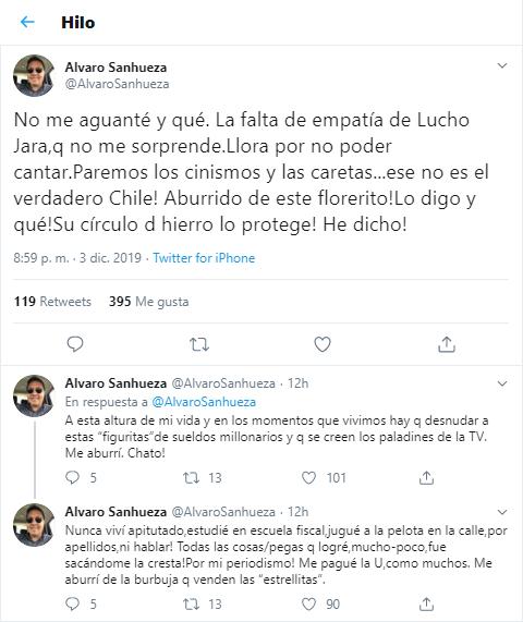 Álvaro Sanhueza criticó a Luis Jara