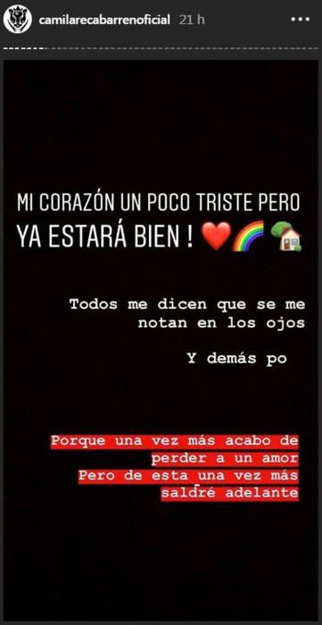 Camila Recabarren terminó su relación