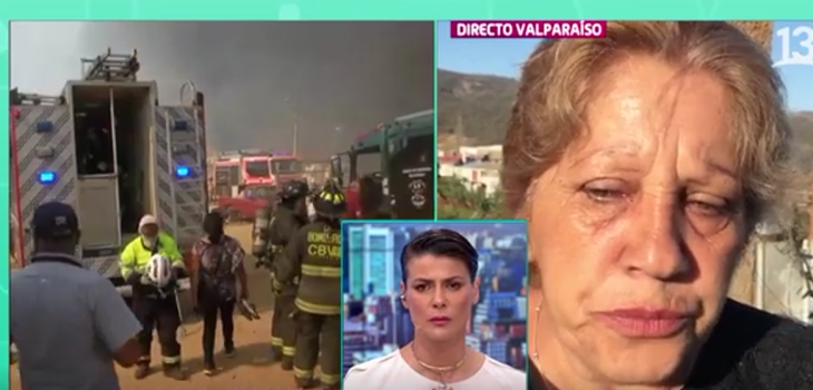 mujer afectada por incendios