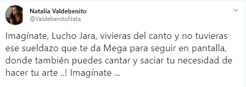 Natalia Valdebenito criticó a Luis Jara