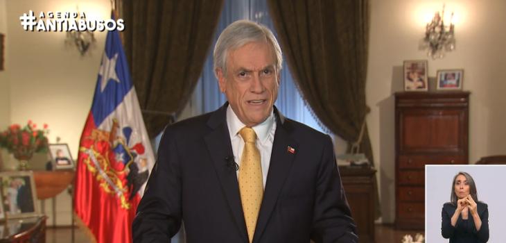 Presidente Piñera presentó en cadena nacional los tres ejes de su nueva agenda antiabusos