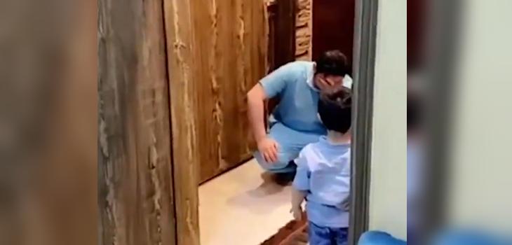 Enfermero no puede abrazar a su hijo