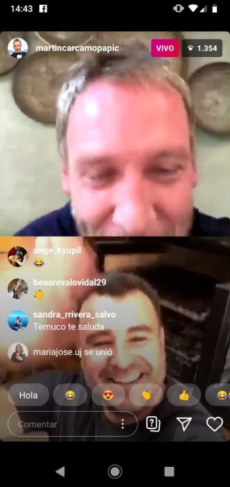 martín cárcamo y programa en instagram